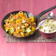 Salteado de arroz con verduras y gambas (10 PP)