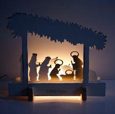 L'étable: crèche de Noël lumineuse