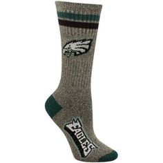 Philadelphia Eagles Women's Marbled Two Stripe Crew Socks - Charcoal