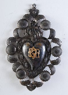 Italian Antique Repousse Silver Ex-voto with PGR (per grazie ricevuta)