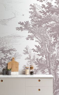 Invite refreshing woodland design to your theme with this grey minimal forest wallpaper, a unique etching design. Kitchen Wallpaper Murals, Chic Wallpaper, Forest Wallpaper, Tree Wallpaper, Animal Wallpaper, Photo Wallpaper, Forest Sketch, Scandinavian Wallpaper, Forest Mural