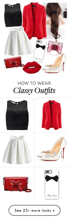"""""""bow"""" by ilarylmiao on Polyvore featuring Miss Selfridge, Christian Louboutin, Kate Spade, Chicwish, Viktor & Rolf, Casetify and Lime Crime"""