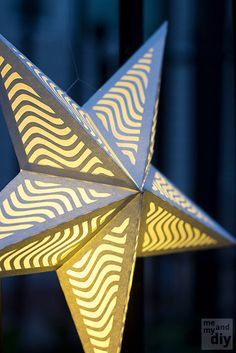 Paper Star Lantern with Wavy Lines - SVG Cutting Files