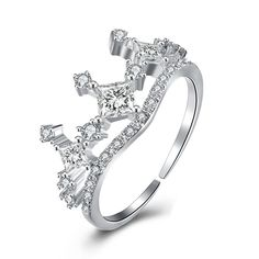 CZ Crown Hollow Fashion 925 Sterling Silver Adjustable Ring
