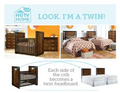 SURPRISE! It's twins! Check out how the crib in @HGTV HOME Hayden Collection offers more than first meets the eye. Beautiful, practical, and available exclusively in @buybuy BABY BABY stores!