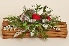 """12"""" Cinnamon Bundle with Holiday Greens, Plaid Bow and a Red Cardinal"""