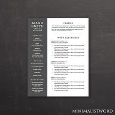Word 2007 Resume Template Executive Resume Template  Microsoft Word Doc *instant Download
