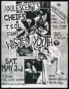 ADOLESCENTS w/ Cheifs, TSOL, Stains, Wasted Youth at Cal State Northridge