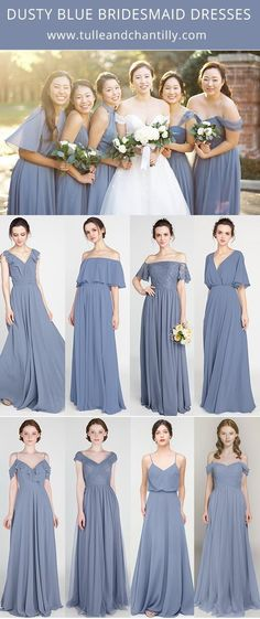 Dusty blue wedding color combo ideas with bridesmaid dress 2021#wedding #weddinginspiration #bridesmaids #bridesmaiddresses #bridalparty #maidofhonor #weddingideas #weddingcolors #tulleandchantilly Short Bridesmaid Dresses, Bridesmaids, Wedding Dresses, Dusty Blue Weddings, Long Shorts, Maid Of Honor, Color Trends, Weddingideas, Wedding Colors