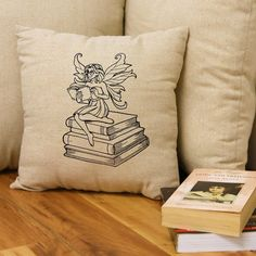 Reading Fairy Throw Pillow Pillow Cover Decorative Pillow