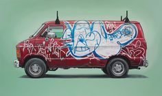 Kevin Cyr is from Brooklyn, New York.  He finds the beauty in old delivery trucks and vans, especially with graffiti. So he decided to removing them from their everyday context and paint them with Oil.