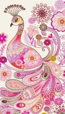 Pink paisley peacock
