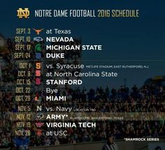 In a long awaited release, the Notre Dame athletic department and director of athletics Jack Swarbrick just announced the Irish football schedule for the next three seasons. Notre Dame Football Schedule, College Football Schedule, College Fun, Notre Dame Indiana, Notre Dame Irish, Irish Fans, Go Irish, Noter Dame, Saint Marys College