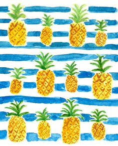 thinktinyart: Painting pretty pineapples patiently.