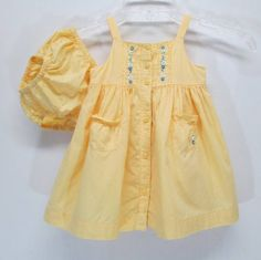 Janie & Jack Yellow Sundress Bloomers Baby Girl 6 - 12 Months Floral Embroidery #JanieandJack #Everyday