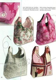 market bag pattern [this is mostly a note to self to try to find a pattern to sew a tote version of baggu bags] Sewing Hacks, Sewing Tutorials, Sewing Crafts, Sewing Patterns, Bag Tutorials, Bag Patterns, Diy Sac, Sacs Diy, Fabric Bags