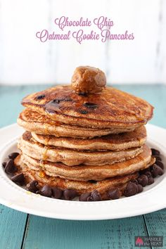 Chocolate Chip Oatmeal Cookie Pancakes - such a fun breakfast treat no one has to know they're whole wheat! From Handle the Heat Oatmeal Pancakes, Oatmeal Chocolate Chip Cookies, Breakfast Pancakes, Pancakes And Waffles, Savory Breakfast, Breakfast Club, Desserts Sucrés, Tortillas, Cookie Butter