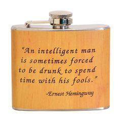 Golden Ernest Hemingway Fun 5-ounce Beige Party Flask