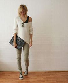 off the shoulder knit + olive pants + chucks
