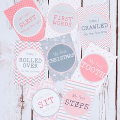 Baby Milestone Cards In Pink