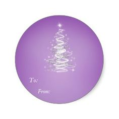 Christmass Tree  Purple Sticker - To:, From: