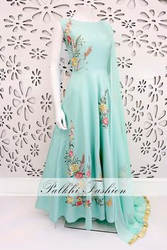 PalkhiFashion Designer Pastel Blue Soft Silk Outfit With 3D Handwork & Beautiful Designs