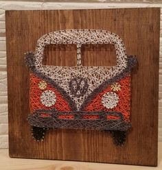 VW bus string art, retro, bus, Volkswagen, wall art, decor, car, truck, bus, VW, 60's, gift, made to order, baby boomer, fun, custom string by aSherThing on Etsy https://www.etsy.com/ca/listing/267208388/vw-bus-string-art-retro-bus-volkswagen