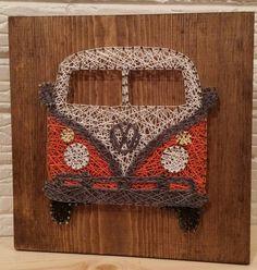 VW bus string art, retro, bus, Volkswagen, wall art, decor, car, truck, bus, VW, 60's, gift, made to order, baby boomer, fun, custom string by aSherThing on Etsy https://www.etsy.com/ca/listing/267208388/vw-bus-string-art-retro-bus-volkswagen