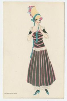 Viennese fashion illustration, ca. 1914.  Bonnet shape hearkens back to the Gypsy hat of the late 18th, early 19th century.