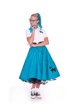Hip Hop 50s Shop Adult 4 Piece Poodle Skirt Outfit - S/M/L Teal Skirt, Socks, Scarf and Glasses