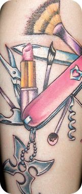 awesome Women Tattoo - Girly Swiss Army knife by Oogie InkedMagazine... Check more at http://tattooviral.com/women-tattoos/women-tattoo-girly-swiss-army-knife-by-oogie-inkedmagazine/