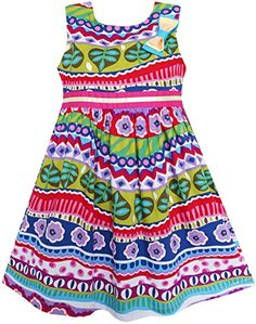 FN54 Sunny Fashion Girls Dress Bow Tie Flower Striped Print Aline Size 6 -- Continue to the product at the image link.