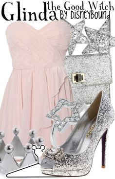 """What a lovely """"Wizard of Oz"""" Glinda inspired Disneybound outfit!! Cute, chic, girly, and sparkly ~ what more could a girl ask for?? ♥"""