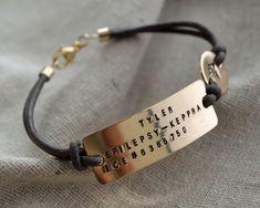 Four Line Gold Medical ID Bracelet - Customize - Hand Stamped - Epilepsy - Diabetes