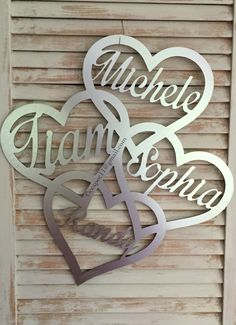 Mothers' Day gifts! Who needs a mothers ring when there is this beautiful brushed silver piece w/ children names! Wholesale door hangers, yard sign, garden flags, custom cameo silhouette, wood cutouts, shapes, letters, names and monograms! custom designs available for spring, summer, birthday, nursery & more!  Metal ACM available in 8 colors! High Grade MDF! Please Do not remove our copyright or copy our designs. We work hard to keep customers stocked with new stuff! #ccspec…