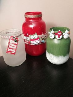 Set of 3 Hand Painted Mason Jars Christmas por SimplyRusticOH Christmas Mason Jars, Painted Mason Jars, Mason Jar Crafts, Frosted Glass, Snowman, Joy, Hand Painted, Gifts, Painting