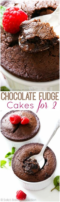 Chocolate Fudge Cakes for 2-- a simple recipe for molten lava-type cakes!! Makes just two. Easy to double or triple the recipe if needed.