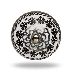 Ceramic Eastern Flower Knob In Black And White