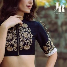 A closer look! Sari Blouse Designs, Designer Blouse Patterns, Blouse Styles, Indian Blouse, Indian Wear, Stylish Blouse Design, Indian Outfits, Indian Dresses, Ethnic Outfits