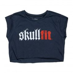 CROPPED T-SHIRT W BLUE - Skullfit