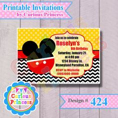 424 mouse boy invitation DIGITAL printable by CuriousPrincessParty, $9.99 mickey inspired 4x6 for birthday party ideas toddler club house in red black and yellow cute parties