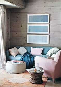 A cool & cozy blue jean spot, from House Beautiful Magazine