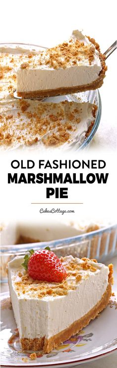 Easy Marshmallow Pie - Cakescottage Easy Marshmallow pie is The BEST NO BAKE PIE you will ever have! Light and fluffy texture, very smooth consistency and a melt-in-your-mouth kind of bite. No Bake Desserts, Easy Desserts, Delicious Desserts, Dessert Recipes, Yummy Food, Healthy Food, Marshmallow Recipes, Tart Recipes, Sweets