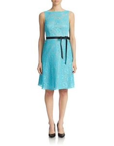 Brands | Plus-Size | Plus Lace Flare Dress with Sash | Lord and Taylor