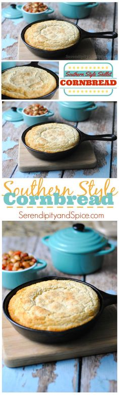 This Southern Style Skillet Cornbread Recipe is absolutely delicious! It's not your typical sweet yellow cornbread recipe...oh no this is a delicious and savory white cornbread recipe that pairs perfectly with chilis and soups! ~ http://serendipityandspic