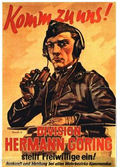 "World War 2 German Poster-""Come to us,"" The Hermann Goring division"