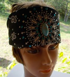 Bling Bandana Black with TURQUOISE CENTER STONE by silcoon52, $22.95