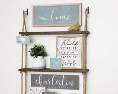 Home Decor & Gifts made by Simply Said by SimplySaidSheila on Etsy Rustic Wood Shelving, Solid Wood Shelves, Rustic Wood Walls, Rustic Wood Signs, Rustic Decor, Farmhouse Shelving, Hanging Rope Shelves, Floating Shelves, Unique Shelves