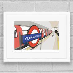 Clapham North Station Platform Art Poster Print White Frame