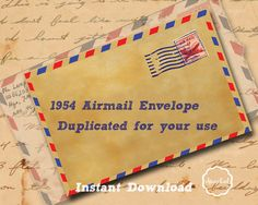 Handmade Vintage WWII Airmail Envelope by SparkalDigitalDesign, $4.85 #printables